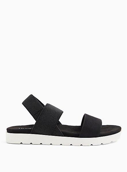 Plus Size Black Faux Suede Stretch Ankle Strap Sandal (WW), BLACK, hi-res