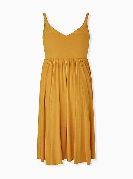 Mustard Yellow Smocked Side Midi Dress, GOLDEN GLOW, alternate