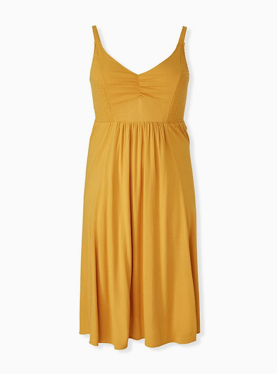 Plus Size Mustard Yellow Smocked Side Midi Dress, , hi-res