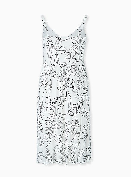 Ivory & Black leaf Smocked Side Midi Dress, FLORAL - WHITE, alternate