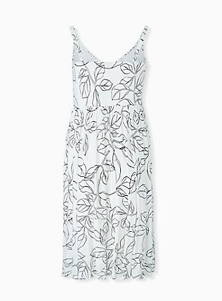 Plus Size Ivory & Black leaf Smocked Side Midi Dress, FLORAL - WHITE, alternate