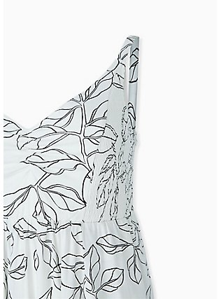 Ivory & Black leaf Smocked Side Midi Dress, FLORAL - WHITE, alternate