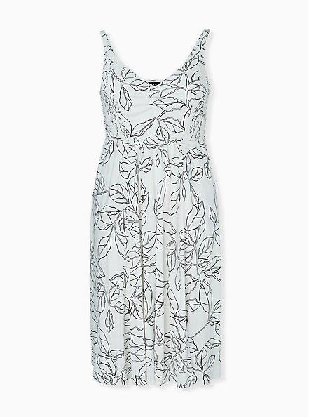 Ivory & Black leaf Smocked Side Midi Dress, FLORAL - WHITE, hi-res