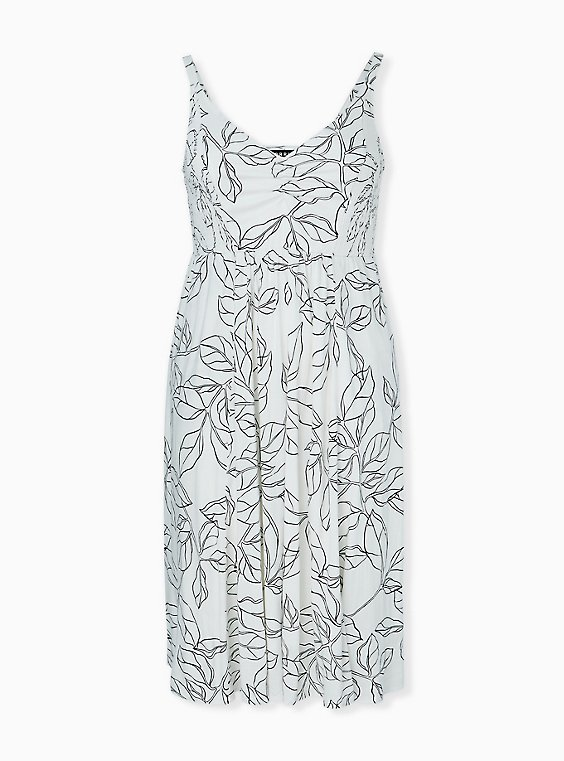 Ivory & Black leaf Smocked Side Midi Dress, , hi-res