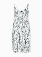 Plus Size Ivory & Black leaf Smocked Side Midi Dress, FLORAL - WHITE, hi-res