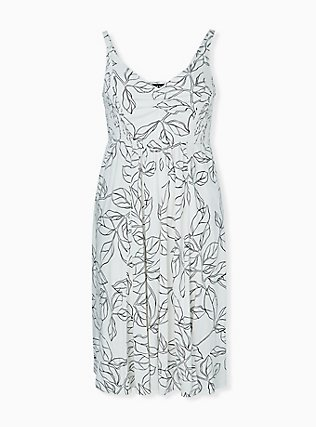 Ivory & Black leaf Smocked Side Midi Dress, FLORAL - WHITE, hi-res