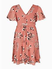 Plus Size Dusty Coral Floral Chiffon Wrap Dress, FLORAL - WHITE, alternate