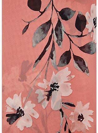 Coral Floral Chiffon Wrap Dress, FLORAL - WHITE, alternate