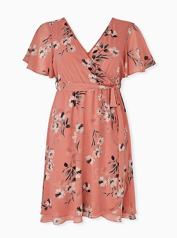 Plus Size Coral Floral Chiffon Wrap Dress, , hi-res
