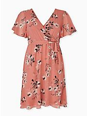 Dusty Coral Floral Chiffon Wrap Dress, FLORAL - WHITE, hi-res