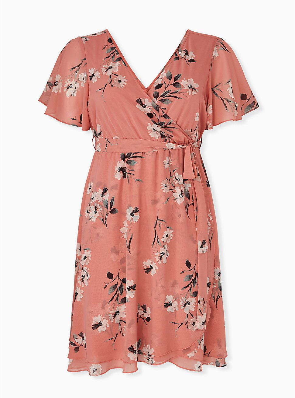 Plus Size Dusty Coral Floral Chiffon Wrap Dress, FLORAL - WHITE, hi-res