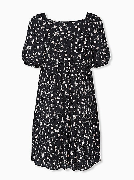 Black Ditsy Floral Crinkled Gauze Puff Sleeve Peasant Dress, FLORAL - BLACK, alternate