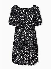 Black Ditsy Floral Crinkled Gauze Puff Sleeve Peasant Dress, FLORAL - BLACK, alternate