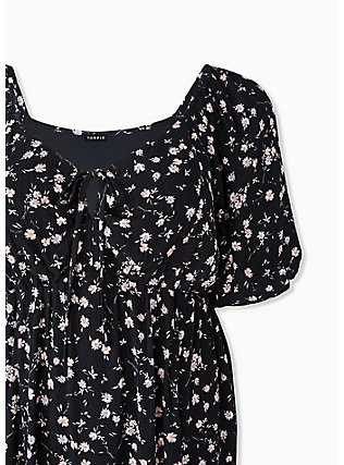 Plus Size Black Ditsy Floral Crinkled Gauze Puff Sleeve Peasant Dress, FLORAL - BLACK, alternate