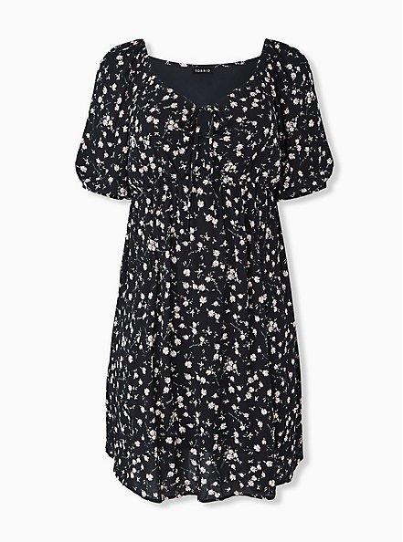 Black Ditsy Floral Crinkled Gauze Puff Sleeve Peasant Dress, FLORAL - BLACK, hi-res