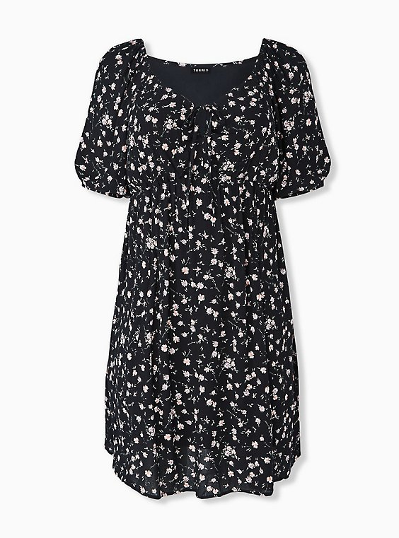 Plus Size Black Ditsy Floral Crinkled Gauze Puff Sleeve Peasant Dress, , hi-res
