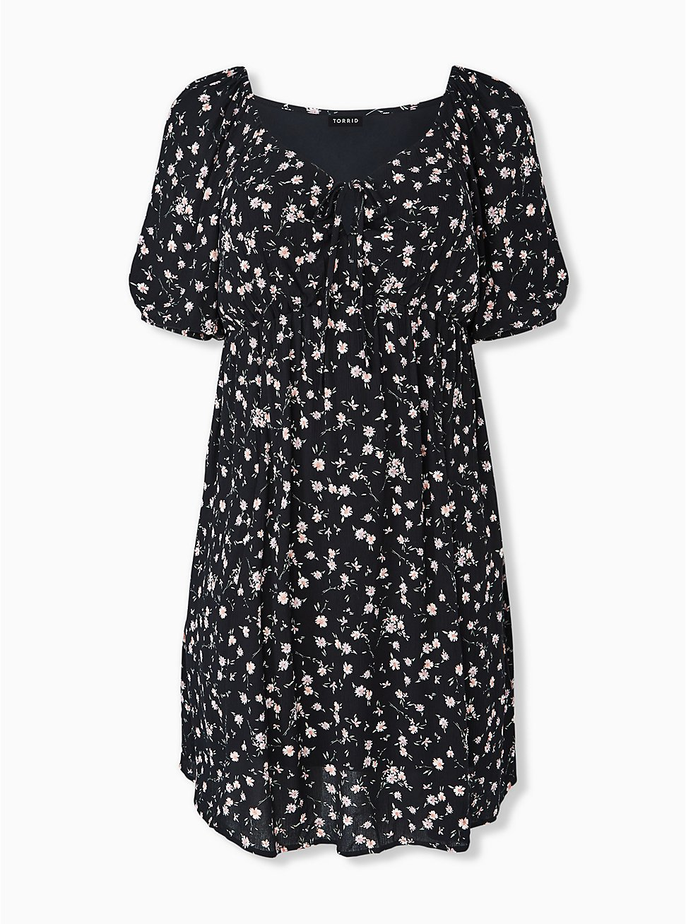 Black Ditsy Floral Crinkled Gauze Puff Sleeve Peasant Dress, FLORAL - BLACK, hi-res