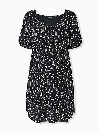 Plus Size Black Ditsy Floral Crinkled Gauze Puff Sleeve Peasant Dress, FLORAL - BLACK, hi-res
