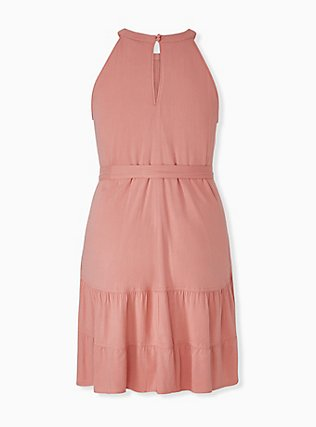 Plus Size Coral Stretch Woven Self Tie Tiered Dress, DESERT SAND, alternate