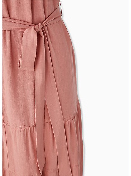 Dusty Coral Stretch Woven Self Tie Tiered Dress, DESERT SAND, alternate