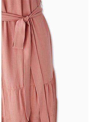 Plus Size Coral Stretch Woven Self Tie Tiered Dress, DESERT SAND, alternate