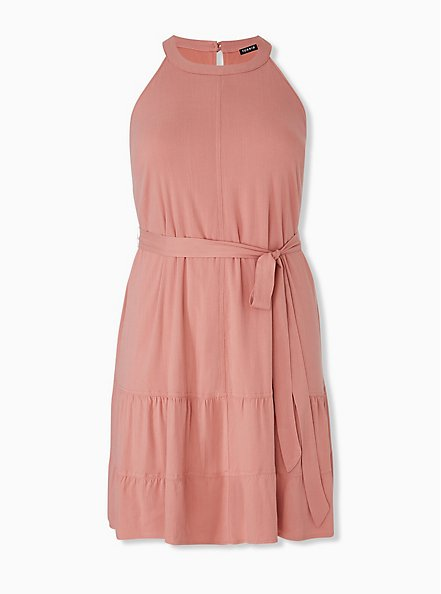 Dusty Coral Stretch Woven Self Tie Tiered Dress, DESERT SAND, hi-res