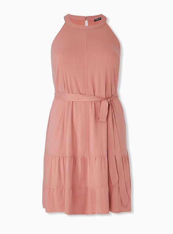 Plus Size Dusty Coral Stretch Woven Self Tie Tiered Dress, , hi-res