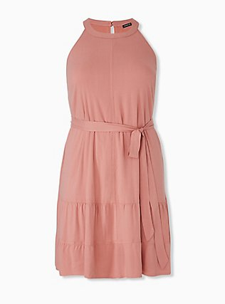 Plus Size Coral Stretch Woven Self Tie Tiered Dress, DESERT SAND, hi-res