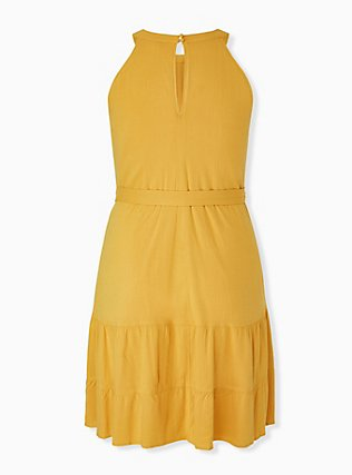 Plus Size Mustard Yellow Self Tie Tiered Dress, GOLDEN GLOW, alternate