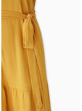 Mustard Yellow Self Tie Tiered Dress, GOLDEN GLOW, alternate