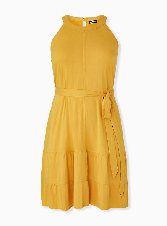 Plus Size Mustard Yellow Self Tie Tiered Dress, , hi-res