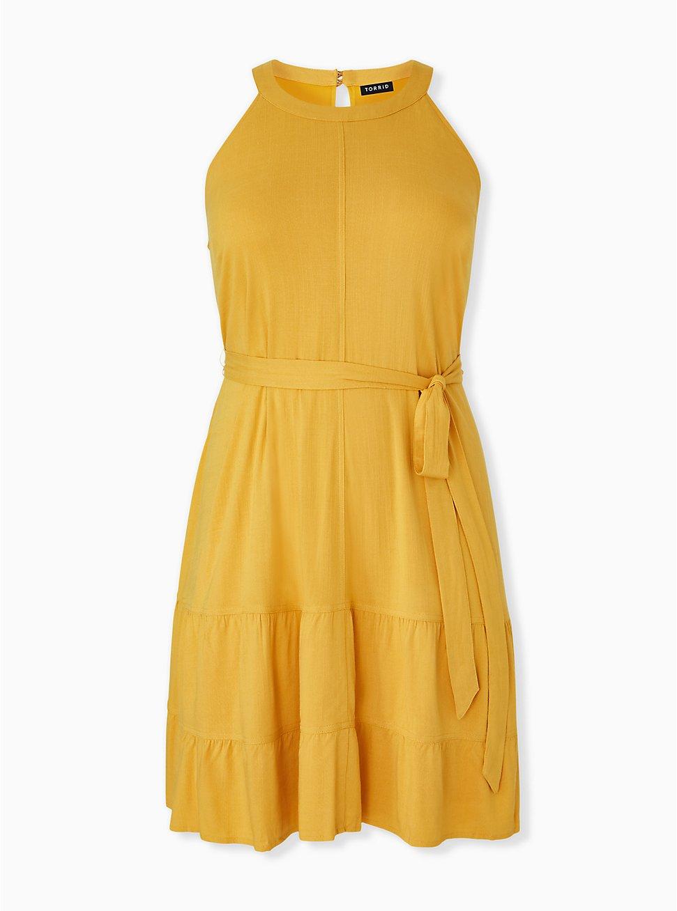 Plus Size Mustard Yellow Self Tie Tiered Dress, GOLDEN GLOW, hi-res