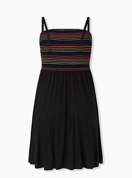 Super Soft Black & Rainbow Stripe Strapless Skater Dress, DEEP BLACK, alternate