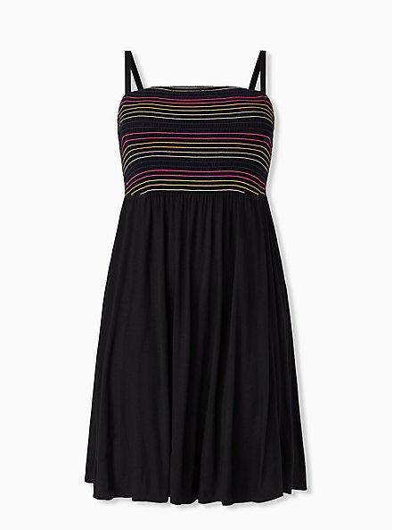 Super Soft Black & Rainbow Stripe Strapless Skater Dress, DEEP BLACK, hi-res