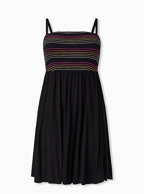 Super Soft Black & Rainbow Stripe Strapless Skater Dress, DEEP BLACK, hi-res