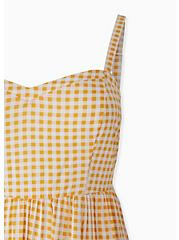 Yellow Gingham Challis Midi Dress, PLAID - YELLOW, alternate