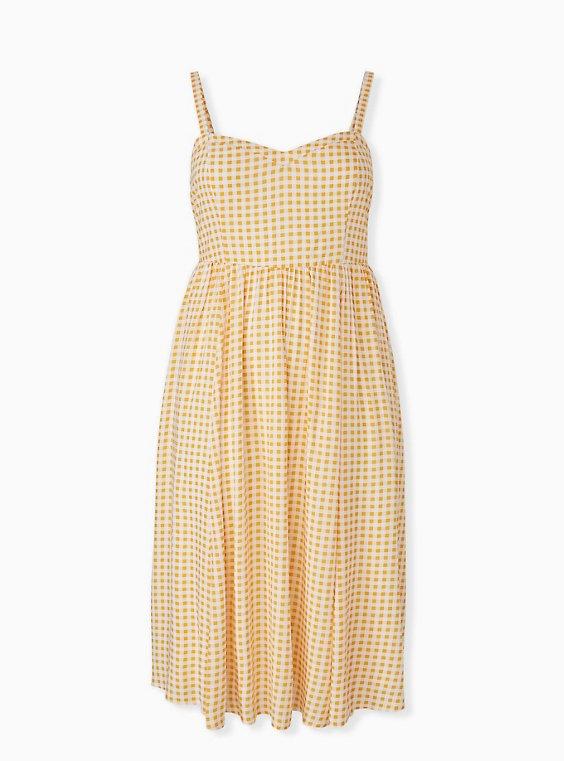 Yellow Gingham Challis Midi Dress, , hi-res