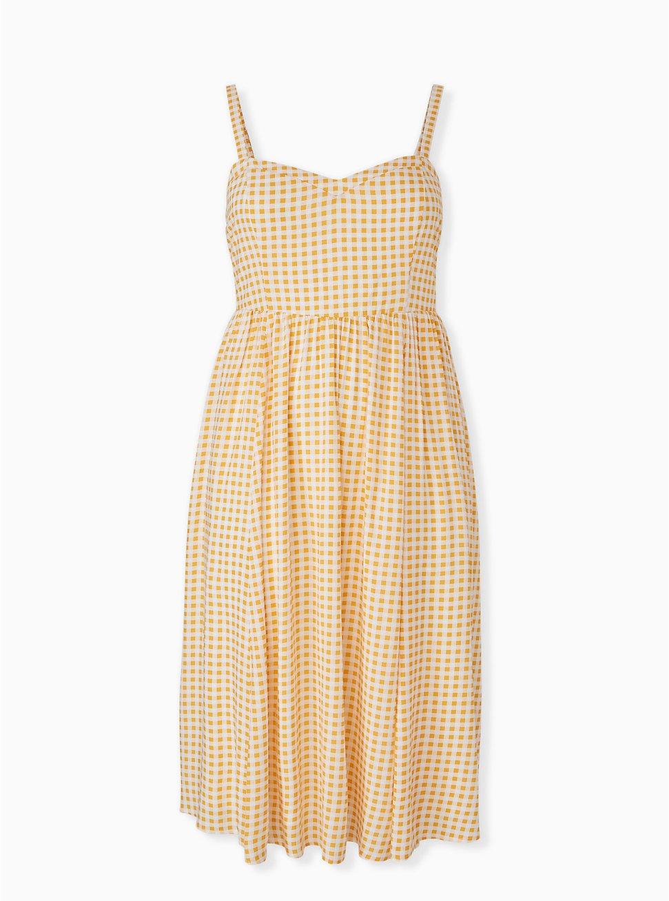 Yellow Gingham Challis Midi Dress, PLAID - YELLOW, hi-res