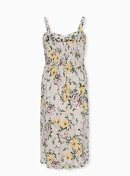 Ivory Floral Challis Midi Dress, FLORAL - WHITE, alternate