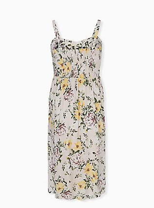 Plus Size Ivory Floral Challis Midi Dress, FLORAL - WHITE, alternate
