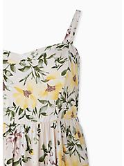 Ivory Floral Challis Midi Dress, FLORAL - WHITE, alternate