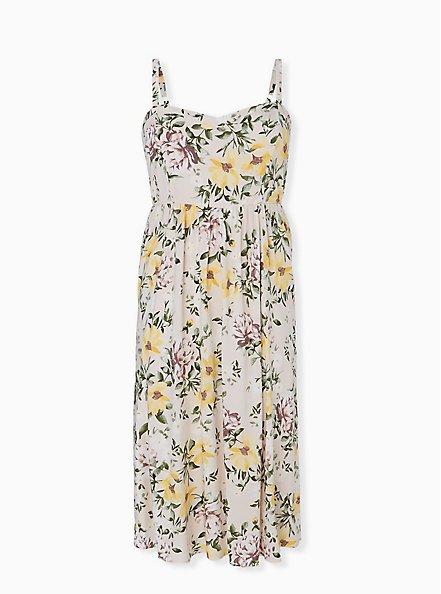 Ivory Floral Challis Midi Dress, FLORAL - WHITE, hi-res