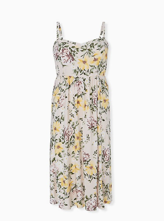 Plus Size Ivory Floral Challis Midi Dress, , hi-res