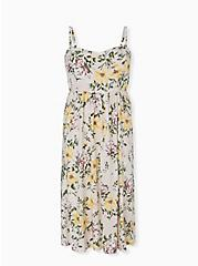 Ivory Floral Challis Midi Dress, FLORAL - WHITE, hi-res