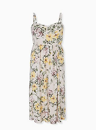 Plus Size Ivory Floral Challis Midi Dress, FLORAL - WHITE, hi-res