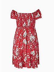 Red Floral Challis Smocked Mini Skater Dress, FLORAL - RED, alternate