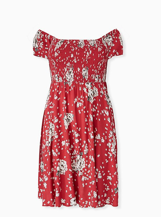 Plus Size Red Floral Challis Smocked Mini Skater Dress, , hi-res