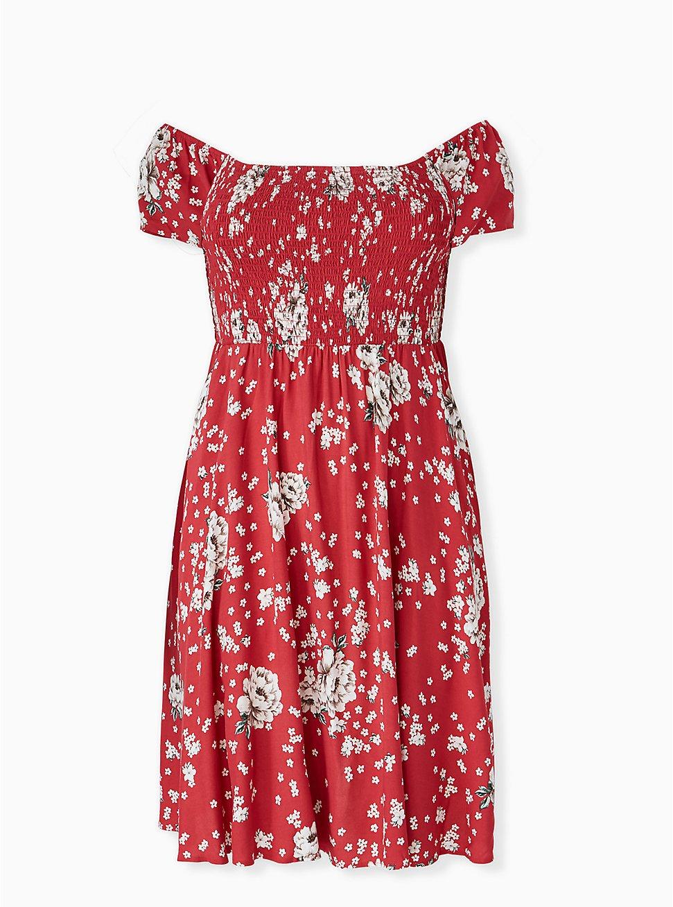Red Floral Challis Smocked Mini Skater Dress, FLORAL - RED, hi-res