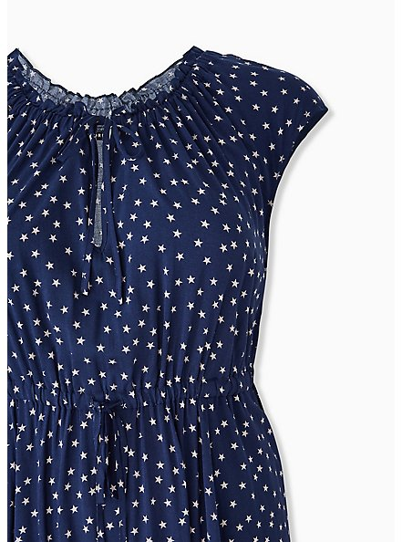 Navy & White Star Challis Drawstring Midi Dress, STARS-NAVY, alternate