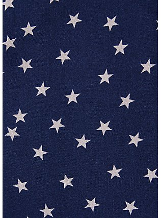 Plus Size Navy & White Star Challis Drawstring Midi Dress, STARS-NAVY, alternate